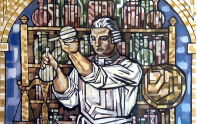 Химия Ломоносова. холст, акрил. 260х160см. 2019 г.
