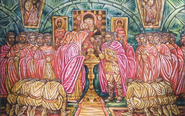 Моление Александра Невского с народом, 180х150 см. холст, акрил.