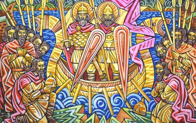 Явления святых Бориса и Глеба. 180х150 см. холст, акрил. 2021г